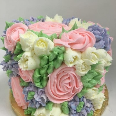 Floral Bouquet Cake 6-Inch Double Layer (serves 12-15)