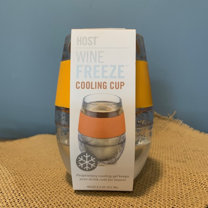 Wine Freeze Cooling Cup (Clear with Tangerine Band)